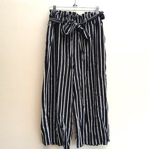 Revamped Black Stripe Cullottes Pants